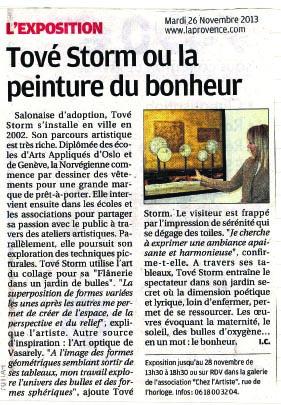 Article La Provence - Edition Salon - Exposition Chez l'Artiste