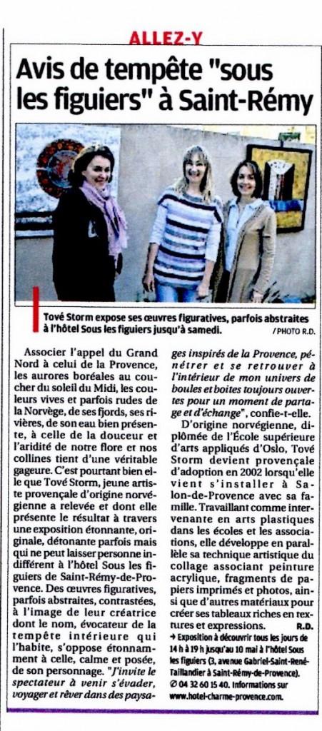 Article La Provence - Edition Arles - Exposition Sous les Figuiers