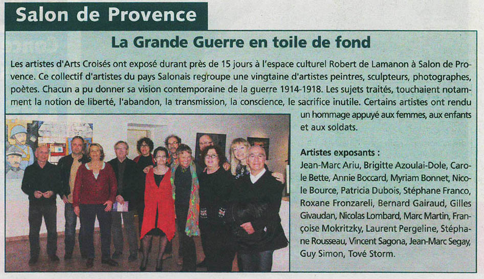 Tove STORM ARTICLE JOURNAL DU PAYS SALONAIS MARS 2014