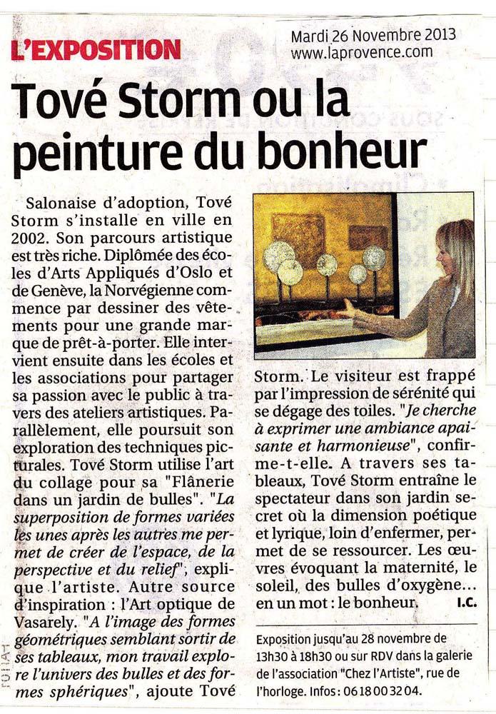 ARTICLE LA PROVENCE 2013