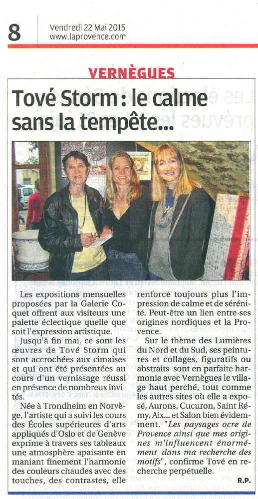ARTICLE LA PROVENCE SALON 2015