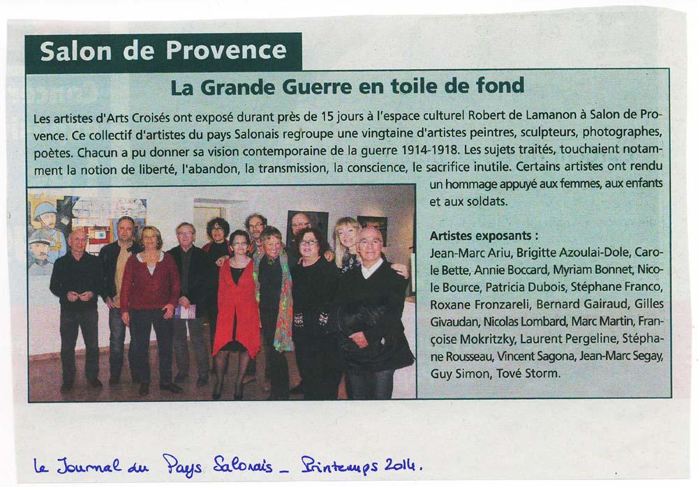 ARTICLE LE JOURNAL DU PAYS SALONAIS 2014